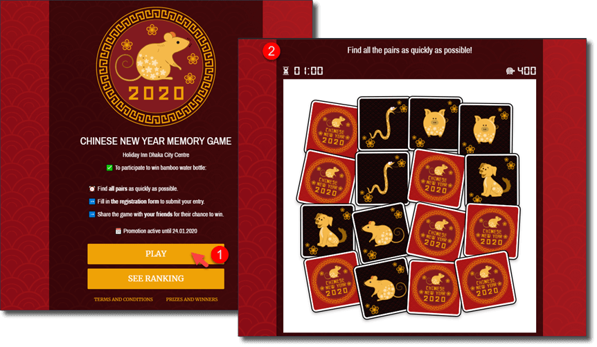 Chinese year memory game. generate leads with interactive content