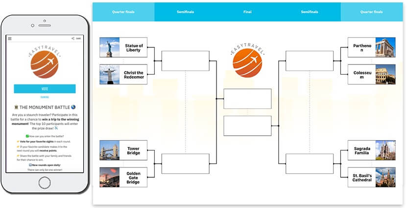 branded tournament bracket. knockout tournament of monuments