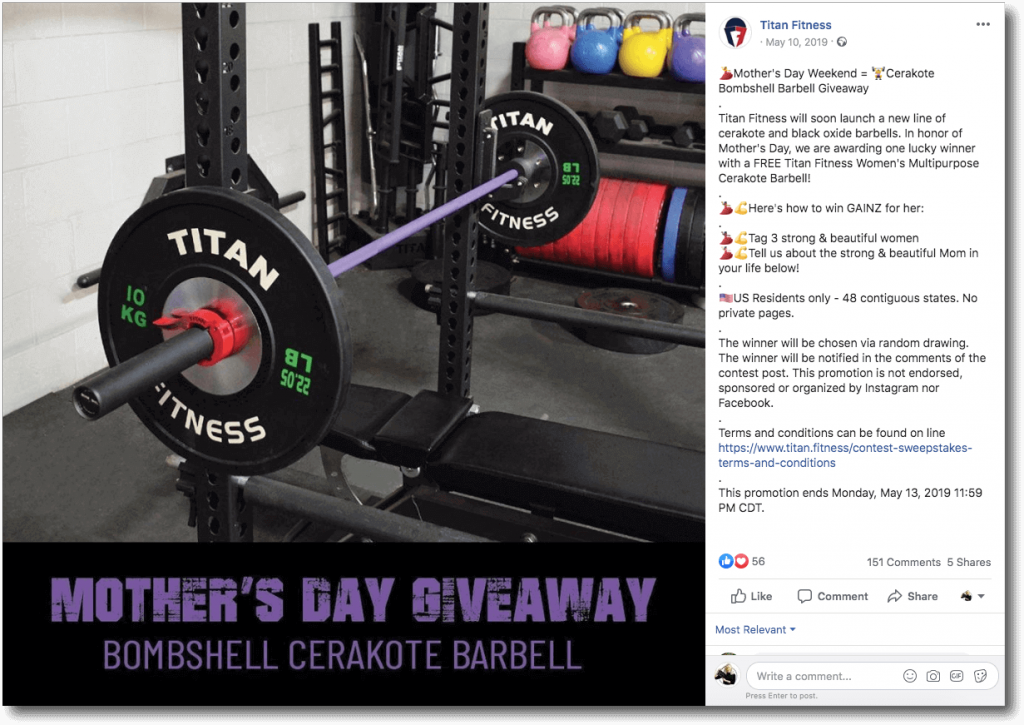 Example of Mother's day giveaways on Facebook