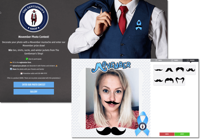 Movember promotion idea from Easypromos, Photofun contest