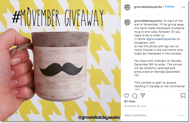 Instagram giveaway for Movember.