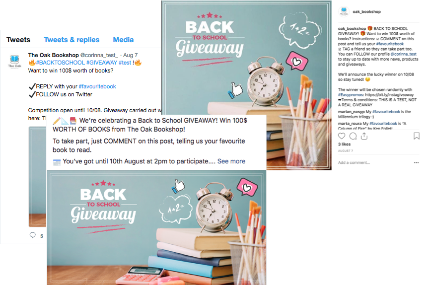 "Screenshots of a multi-network giveaway with identical posts on Twitter, Instagram, and Facebook. The image in each post shows books, pencils and an alarm clock in pink and blue, with the overlay text ""Back to School Giveaway""."