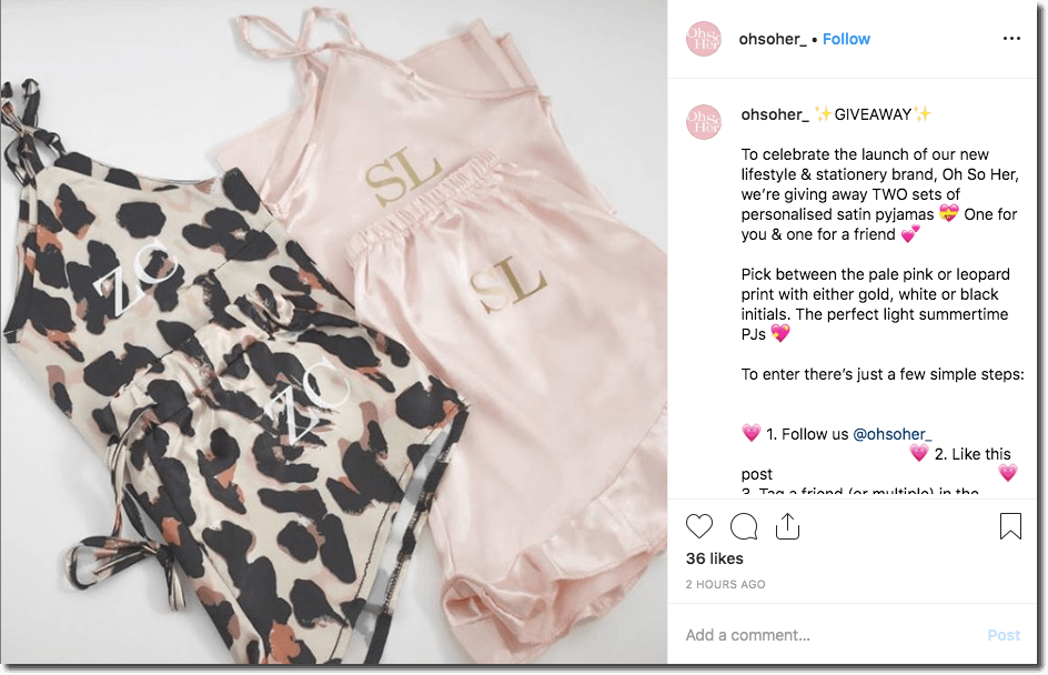 cdfb527984 Screenshot of an Instagram giveaway to promote a fashion collection. The  image shows two monogrammed