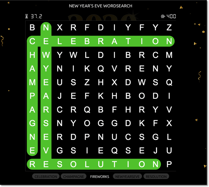 Word search for New Year's Eve promotion ideas