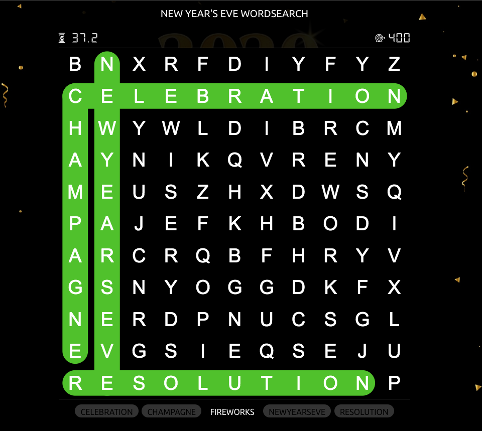 Wordsearch for New Year's Eve promotions