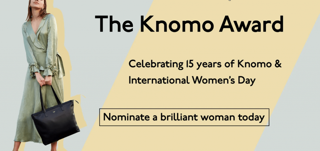 "Banner announcing the Knomo Award, a prize to celebrate ""brilliant women"" by the fashion brand Knomo"