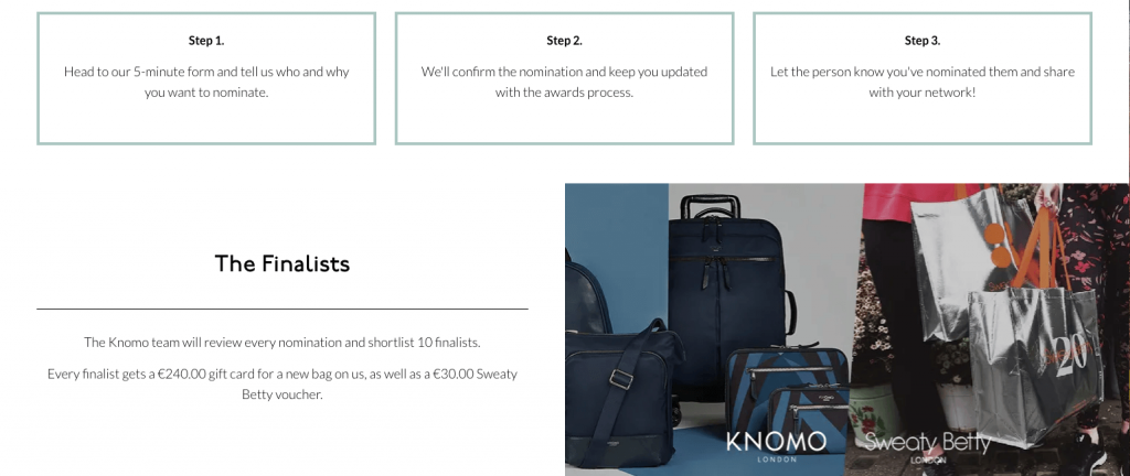 Screenshot of the Knomo Award website, explaining how to nominate women for the prize, and describing gift bags for finalists.