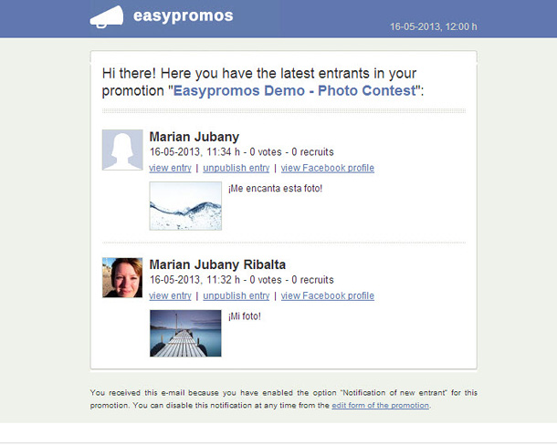 Easypromos - Notificacion with latest users