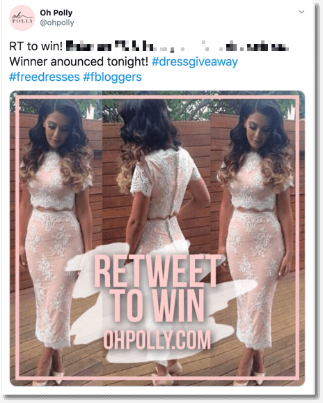 Fashion giveaway on Twitter