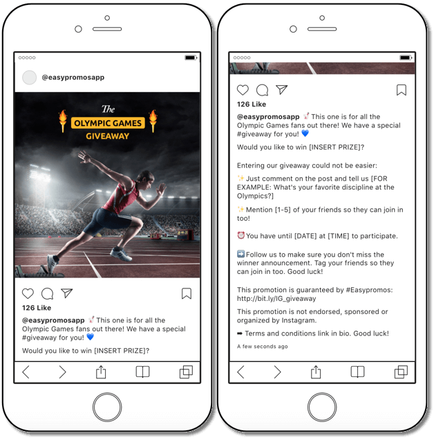 instagram giveaway as olympic games promotion idea for any brand