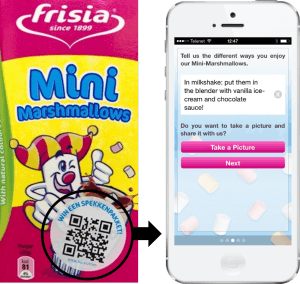 Experiential retail promotion with QR codes on products to share online