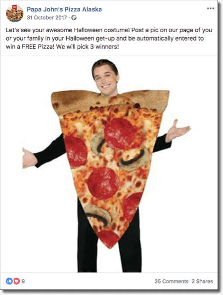 halloween giveaway ideas: papa john's example