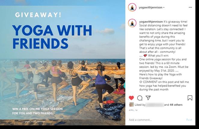 Yoga giveaway instagram