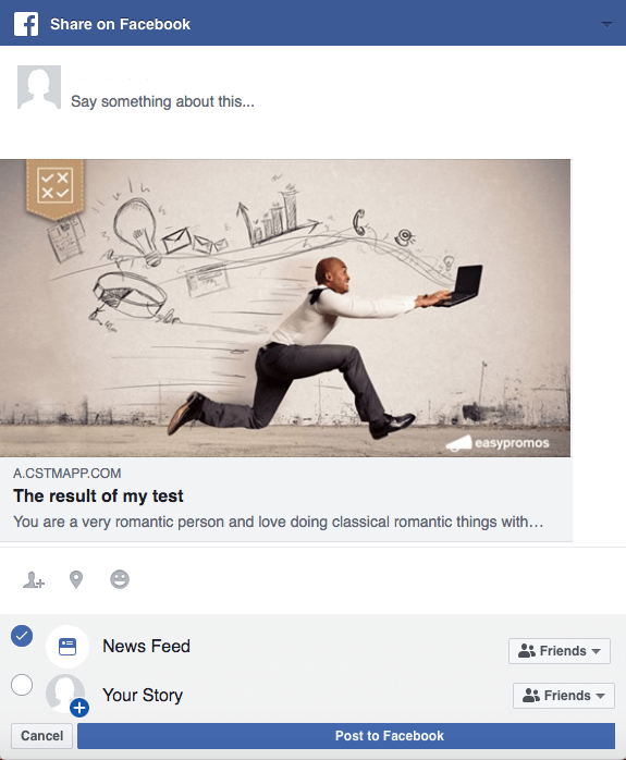 Image of Facebook post with personality test results
