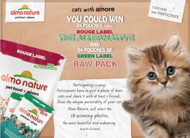 Banner announcing photo contest to win Almo Nature cat food