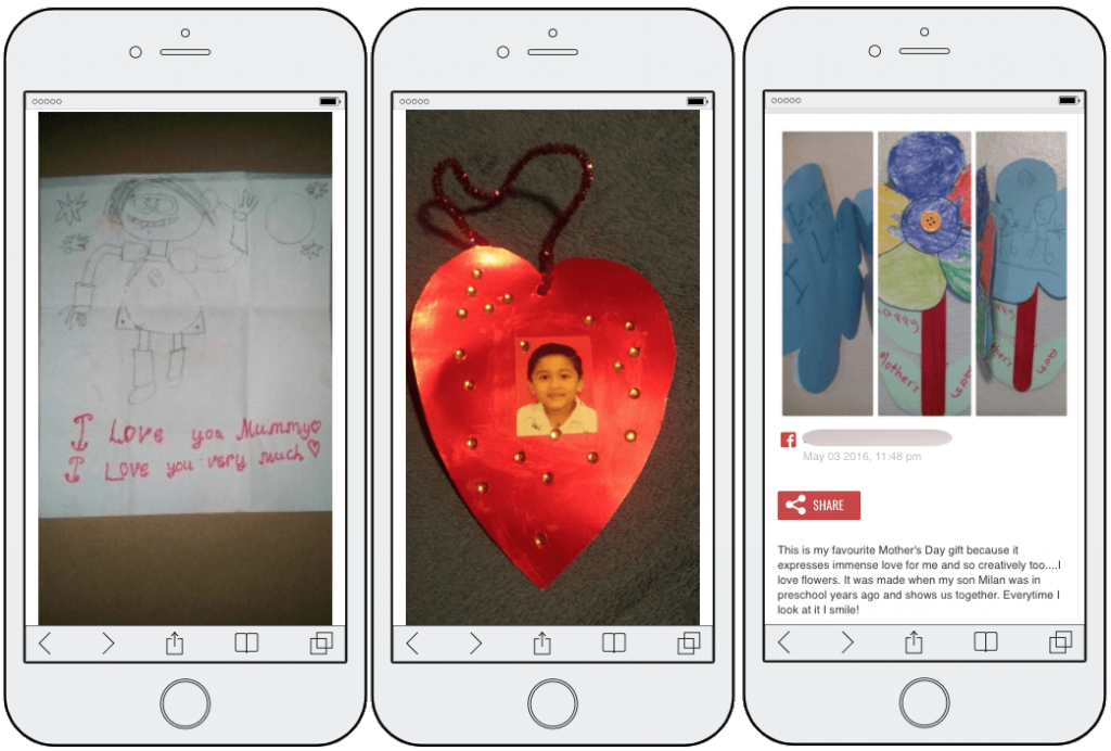 "3 entries from the Mother's Day photo contest. From left to right: a stick figure drawing labelled ""I love you Mummy, I love you very much""; a red paper heart with a child's photo in the center; and a paper flower with a caption by the mother explaining how the flower was made."