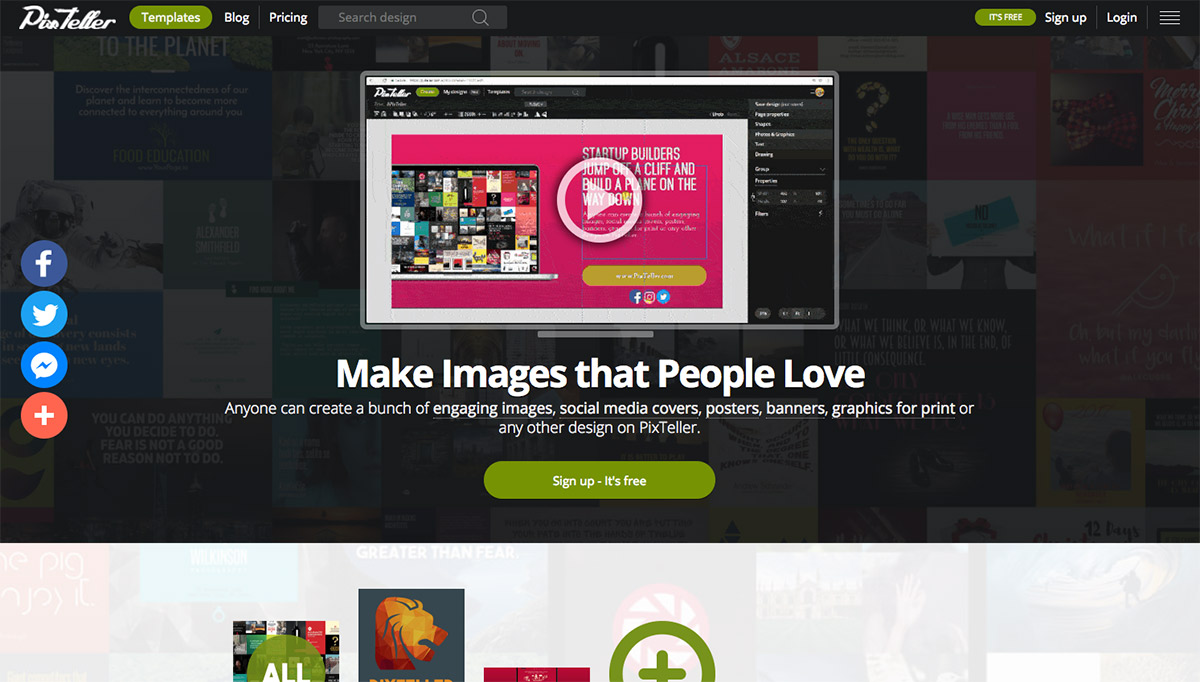 Image of PixTeller homepage
