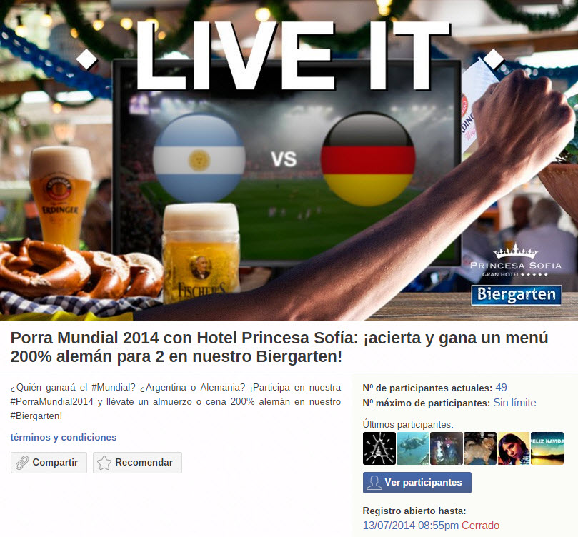 Screenshot from a FIFA World Cup promotion. The contest winner will receive a full German meal while they watch the final match at a hotel.