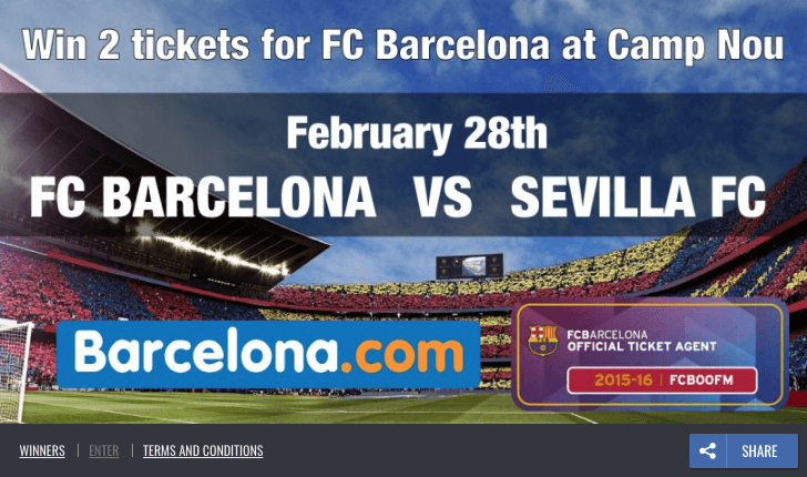 Screenshot of a World Cup promotion offering 2 tickets to see FC Barcelona versus Sevilla FC at the Camp Nou.