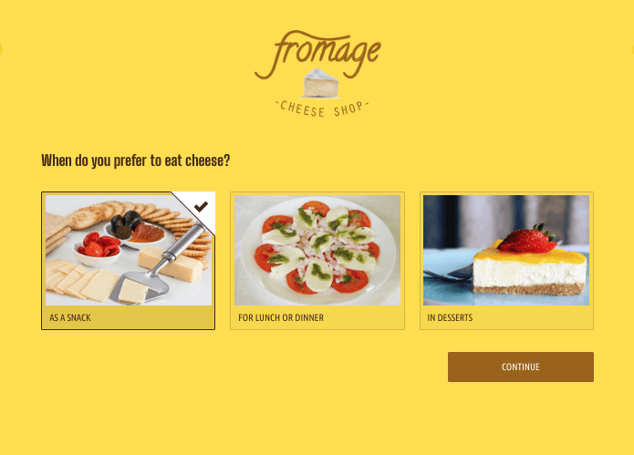 Image of product recommender app with cheese recommendation as example