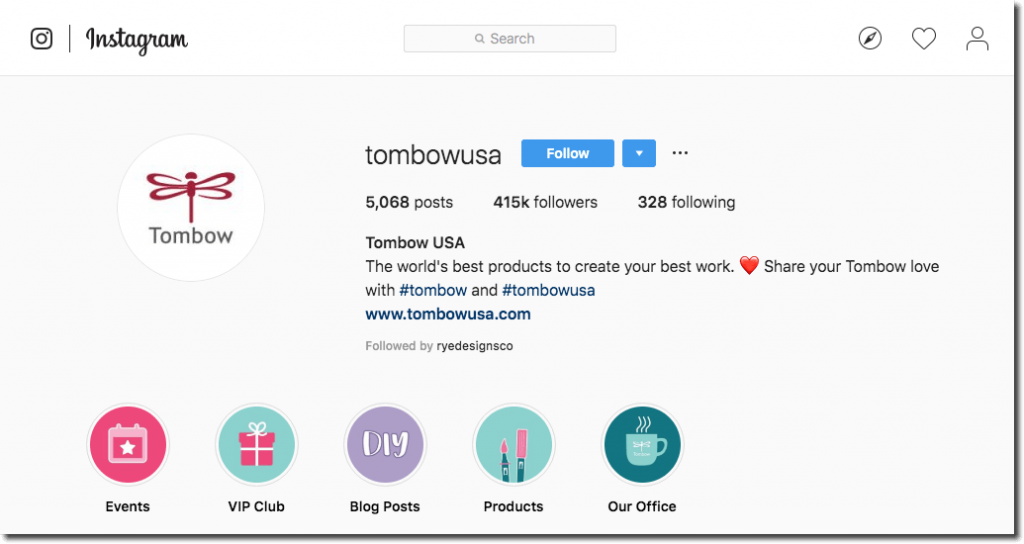 Screenshot of Tombow USA's Instagram profile, with 5608 posts, and 415,000 followers.