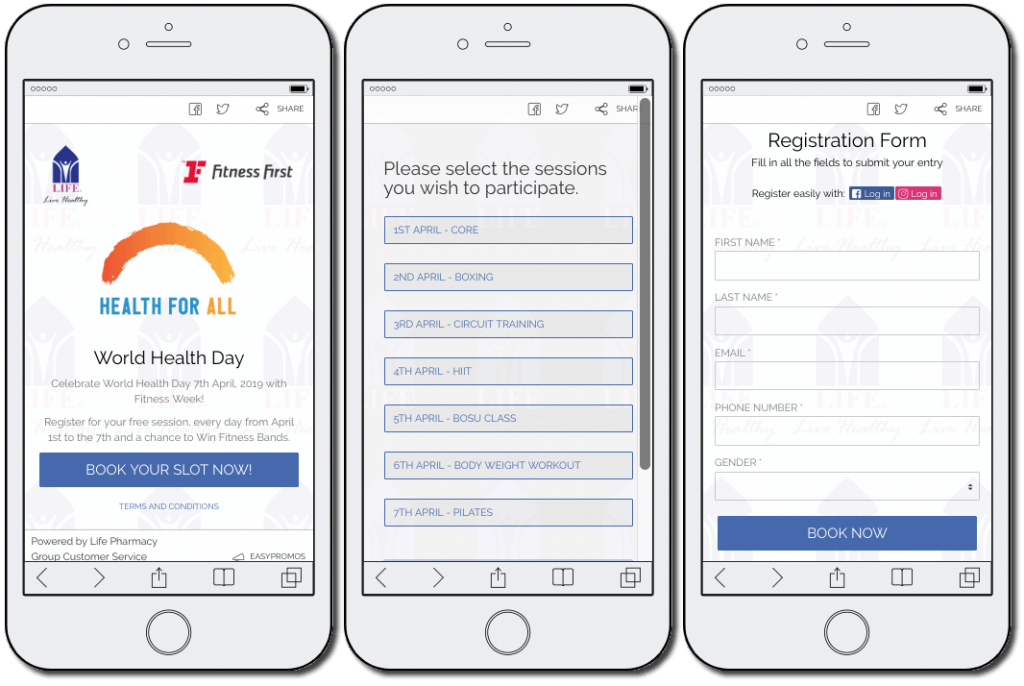 World Health Day campaign ideas: free fitness sessions. The image shows 3 mobile screenshots. The first screenshot announces the giveaway. The second invites users to select their preferred session. The third screen is the registration form, where users share their name, email, phone number, and gender.