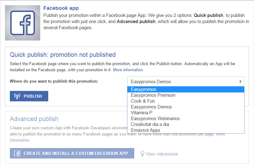 publish as a FB app