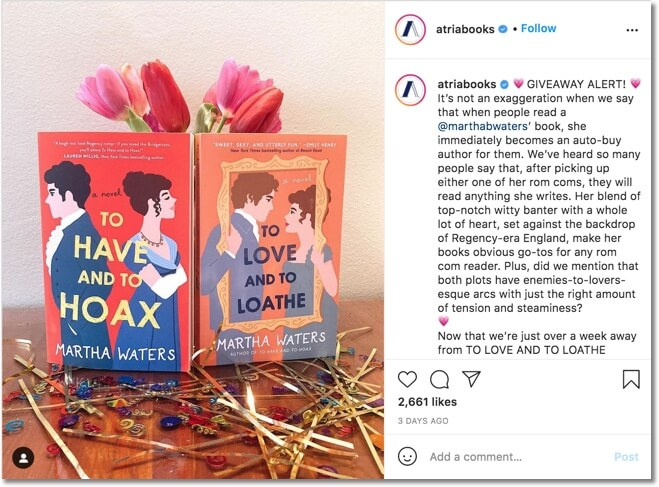 publishing house promoting books on instagram with a comment giveaway