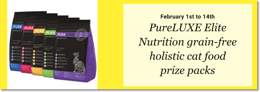 Banner announcing a giveaway of free cat food for newsletter subscribers. The image shows 4 different flavors of cat food.