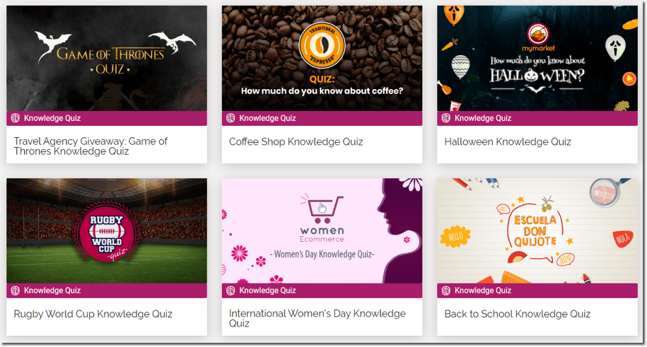 quizzes for social media, screenshot of knowledge quiz templates