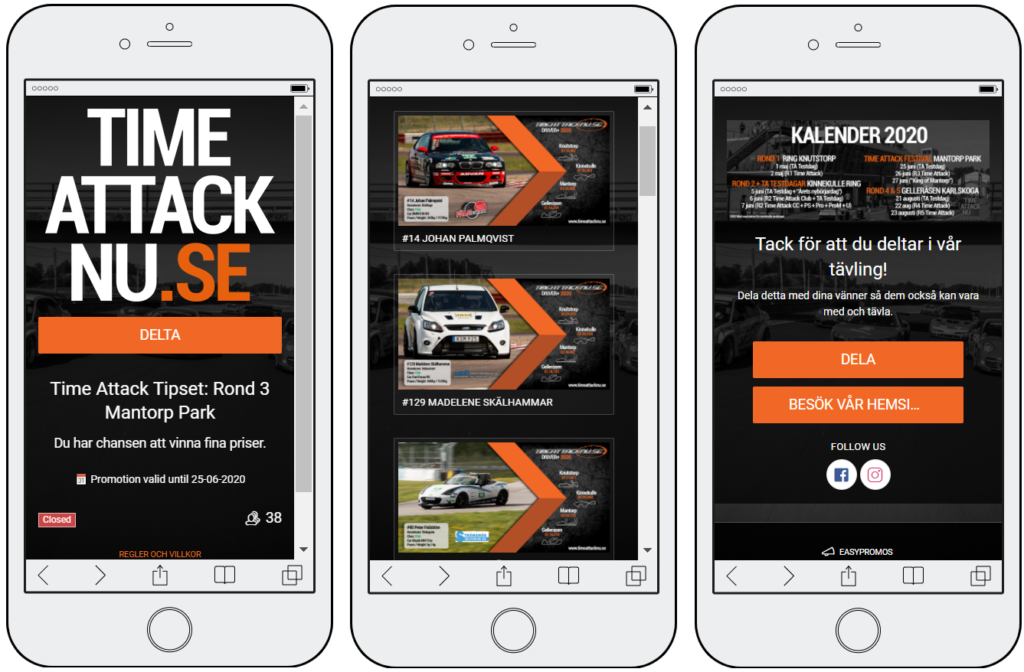 3 mobile screenshots of an interactive predictions quiz. Users are invited to pick the winner for each upcoming race. The final screen of the game shows a race calendar reminding users of key dates.