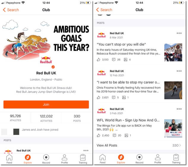 red bull strava, how to promote your online campaign and build community on other social media channels