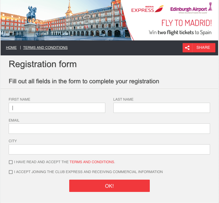 Screenshot of a competition registration form. The top banner of the page shows a city square in Madrid, alongside the logos of Iberia Express and Edinburgh Airport. The text reads: FLY TO MADRID! Win two flight tickets to Spain. The form asks for full name, email address, city, and email consent.