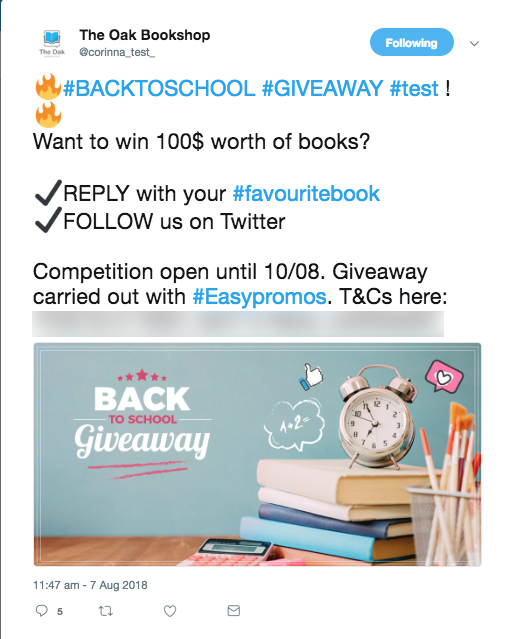 Reply follow Twitter giveaway back to school