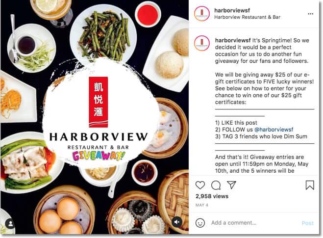 restaurant giveaway on instagram