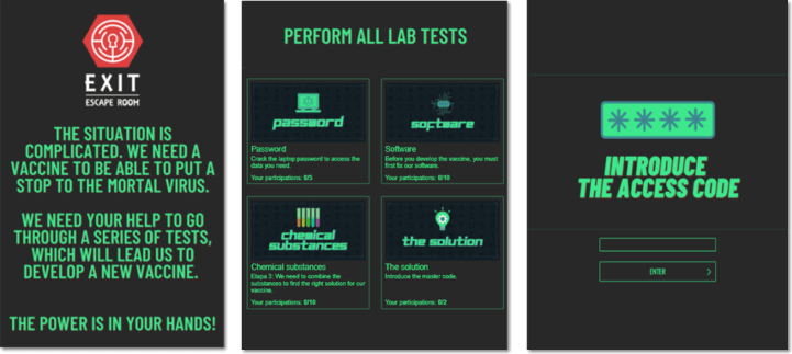 Three screenshots from the Scientific Escape Room, showing the welcome screen, a sample of the puzzles involved (such as breaking a password), and a screen where users are invited to guess the access code to the solution.