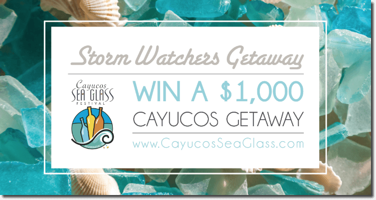 "Banner announcing a jewelry promotion. Against a background of seaglass and shells, the text reads: ""Storm Watchers Getaway. Win a $1000 Cayucos getaway."""