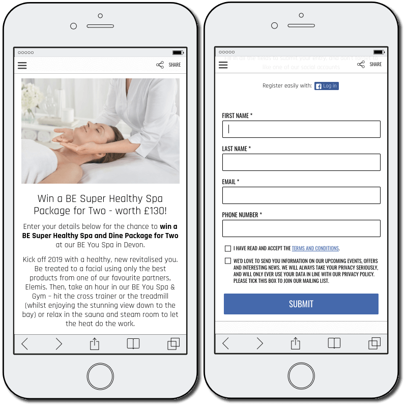 Another example of a World Health Day giveaway. The image shows 2 mobile screenshots. The first screenshot shows a photo of a woman receiving a head and neck massage. The text describes the prize and how to enter. The second screenshot shows the registration form, where users share their name, email, phone number, and consent to receive newsletters from the spa.