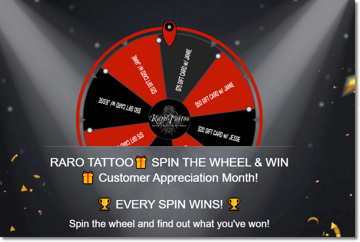 Screenshot of a spin-the-wheel promotion from Raro Tattoo. Users spin the virtual wheel to find out which virtual prize they have won.