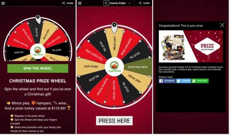 Christmas promotion ideas for 2020: screenshot of branded Christmas Spin the Wheel from Easypromos