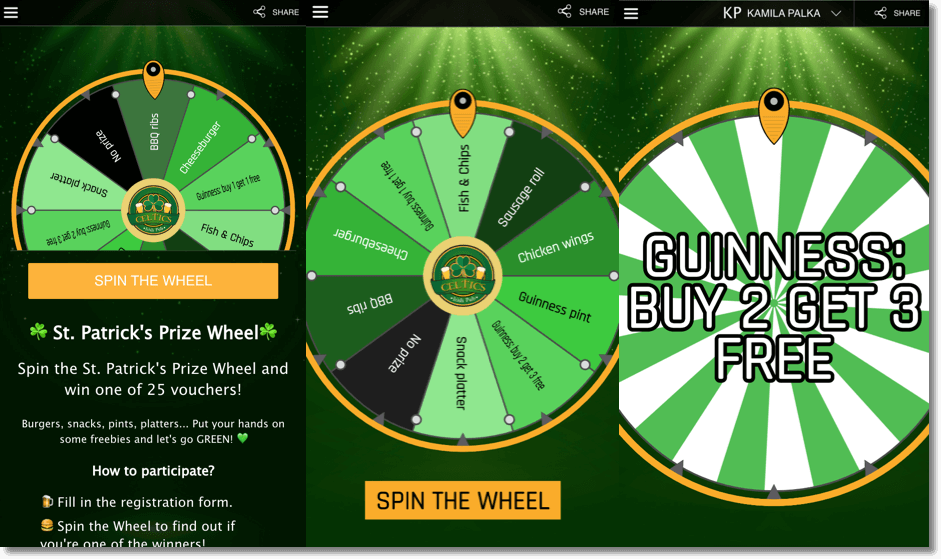 branded prize wheel example st patricks day