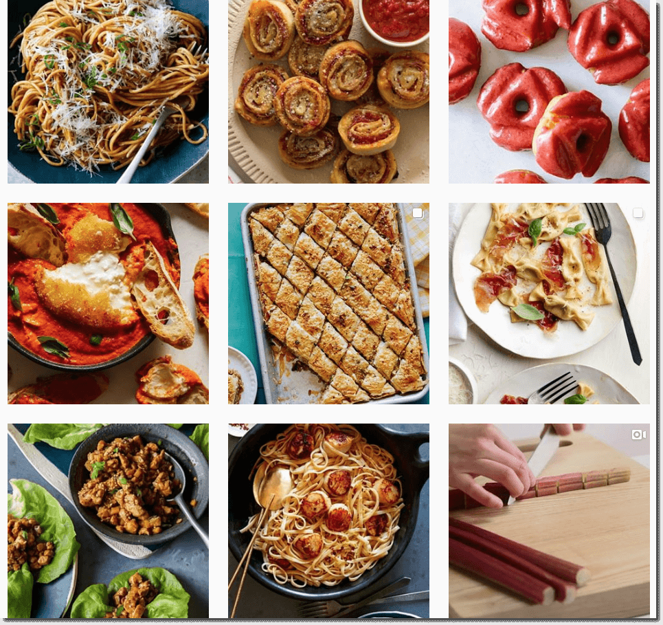 Screenshot of the Instagram grid of Spoon Fork Bacon. All the photos are in warm red and yellow tones (for example, tomato soup, or rhubarb).