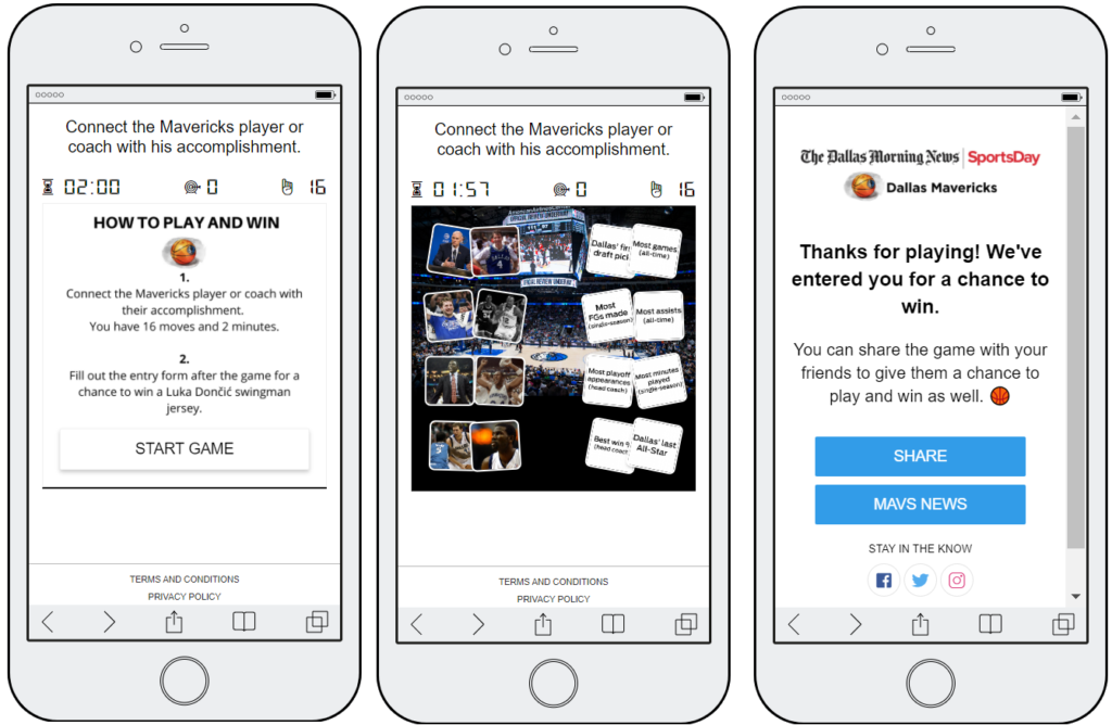 3 mobile screenshots of an interactive card-matching game from the Dallas Mavericks sports team. Users have to link each sports player with their biggest achievement. If users complete the game, they are entered in a prize draw.