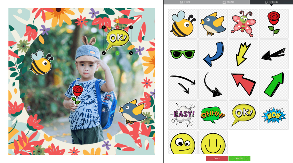 Easter promotion ideas: Easter photo frames. The image shows a photo of a young boy in the PhotoFun editor, decorated with Spring-themed frames and animal stickers.