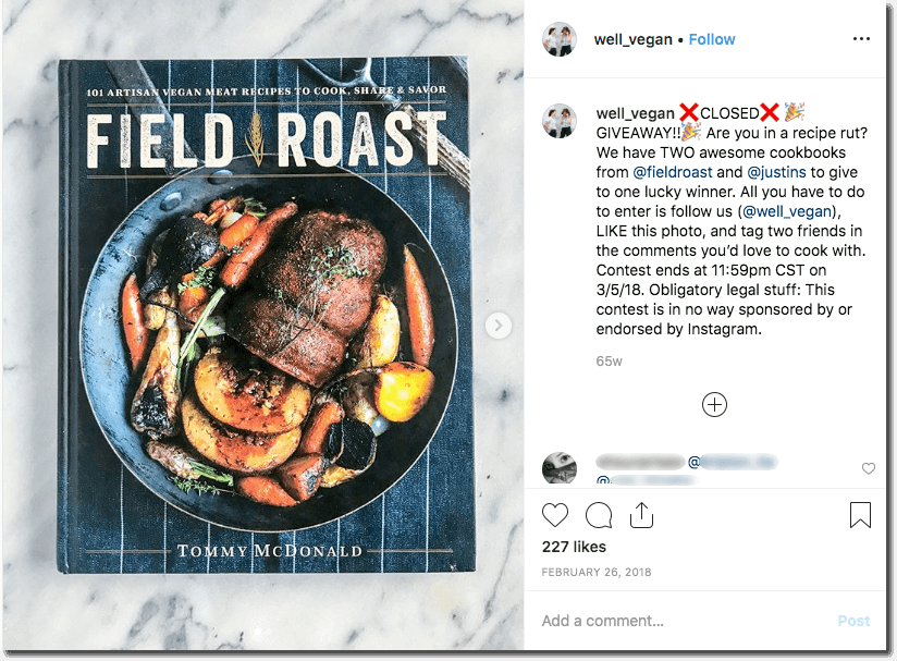 An Instagram giveaway to promote a recipe book. The image shows the front cover of the book. In the caption, the blogger asks users to follow, like, and tag friends in the comments for a chance to win.