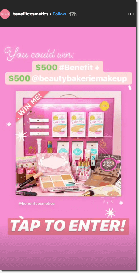 """Screenshot of an Instagram Story announcing a giveaway prize. The image shows the brand's profile post, with the text overlay """"tap to enter""""."""