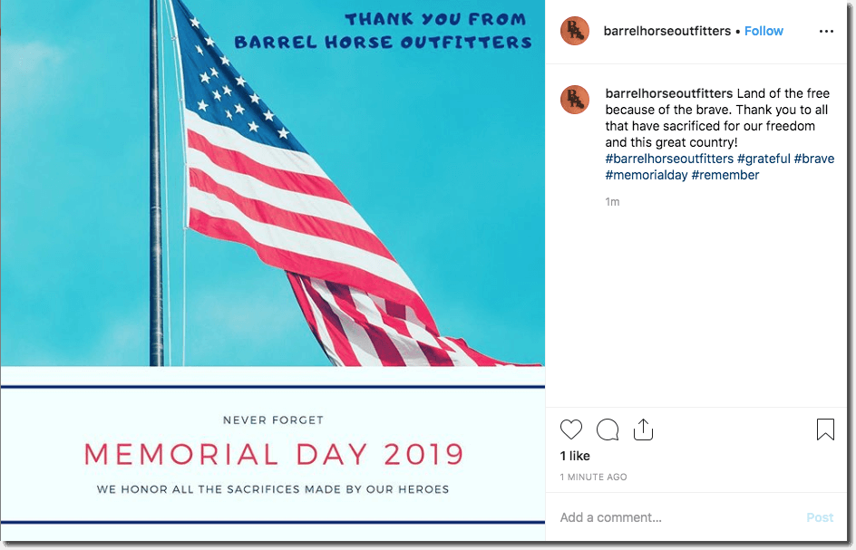Screenshot of an Instagram tribute for Memorial Day.