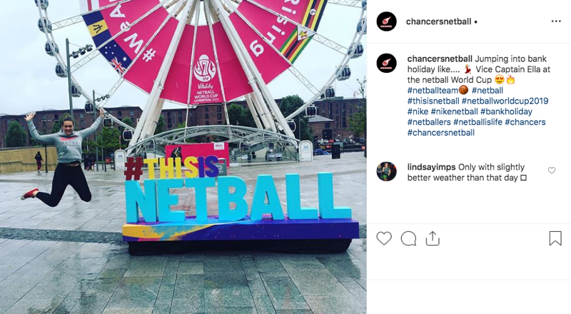 Instagram example of the Netball World Cup campaign