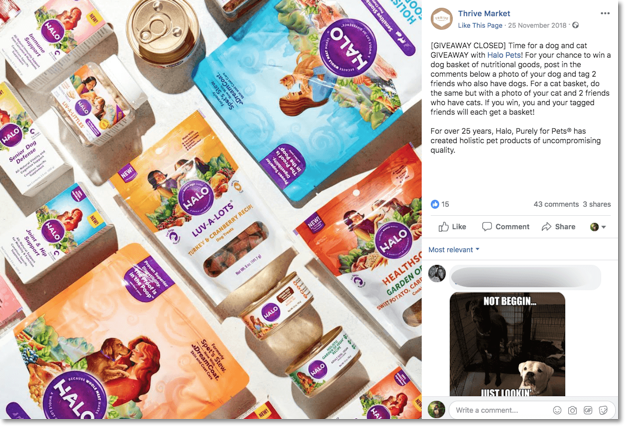 Screenshot of a Facebook post announcing a photo contest to win a hamper of cat treats