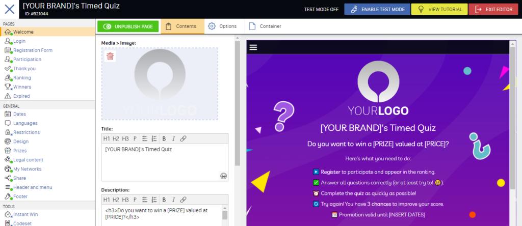 timed quiz app editor